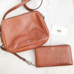 Fossil Brown Leather Crossbody & Wristlet Wallet
